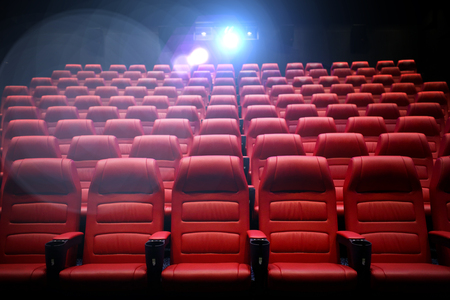 Photo pour entertainment and leisure concept - movie theater or cinema empty auditorium with red seats - image libre de droit