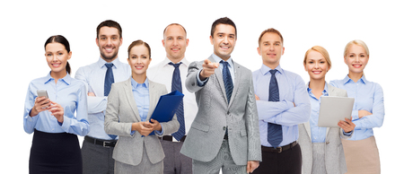 Foto de business, people, corporate, teamwork and office concept - group of happy businesspeople pointing at you - Imagen libre de derechos