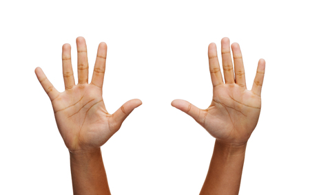 Photo pour gesture and body parts concept - two woman hands waving hands - image libre de droit