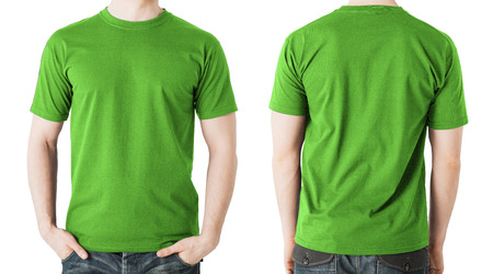 Foto de clothing design concept - man in blank green t-shirt, front and back view - Imagen libre de derechos