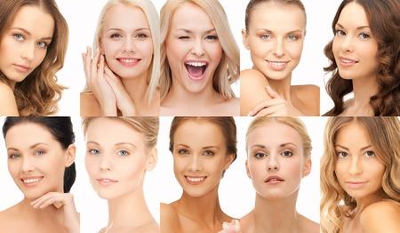 Foto de people, portrait and beauty concept - collage of many happy women faces - Imagen libre de derechos