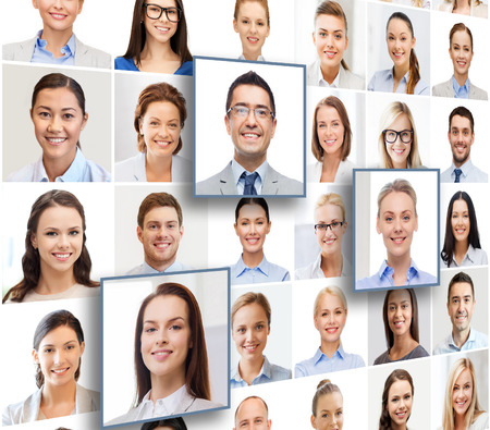 Photo for human resources, career management, recruitment and success concept - collage with many business people portraits - Royalty Free Image