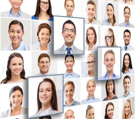 Foto de human resources, career management, recruitment and success concept - collage with many business people portraits - Imagen libre de derechos