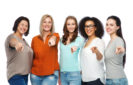Photo for choice, friendship, fashion, diverse people concept - group of happy plus size women in casual clothes pointing finger on you - Royalty Free Image