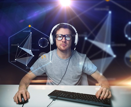 Photo for technology, cyberspace, programming and people concept - hacker man in headset and eyeglasses with pc computer keyboard over virtual projections - Royalty Free Image
