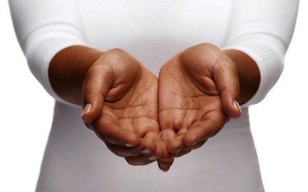 Photo pour people, charity and poverty concept - close up of african american female empty cupped hands holding and showing something - image libre de droit