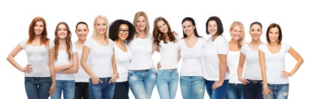Photo for friendship, diversity, body positive and people concept - group of happy women of different age size and ethnicity in white t-shirts hugging - Royalty Free Image