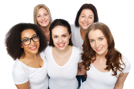 Photo for friendship, diverse, body positive and people concept - group of happy different size women in white t-shirts - Royalty Free Image
