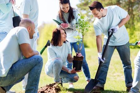 Foto de volunteering, charity, people and ecology concept - group of happy volunteers planting tree and digging hole with shovel in park - Imagen libre de derechos