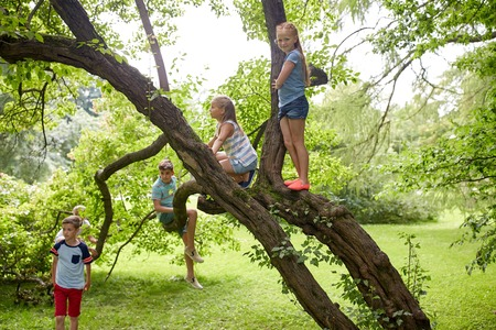 Photo for friendship, childhood, leisure and people concept - group of happy kids or friends climbing up tree and having fun in summer park - Royalty Free Image