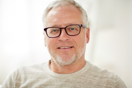 Photo for old age, vision and people concept - close up of smiling senior man in glasses - Royalty Free Image