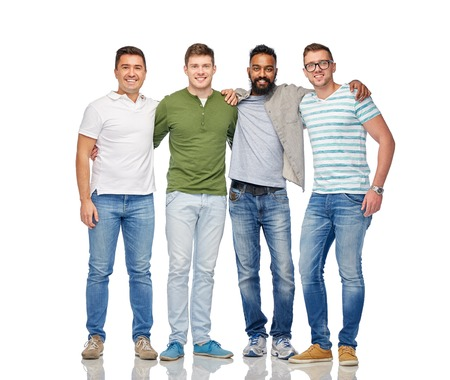 Foto de friendship, diversity, ethnicity and people concept - international group of happy smiling men over white - Imagen libre de derechos