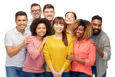 Foto de diversity, race, ethnicity and people concept - international group of happy smiling men and women over white - Imagen libre de derechos