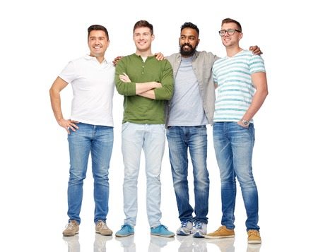Photo for friendship, diversity, ethnicity and people concept - international group of happy smiling men over white - Royalty Free Image