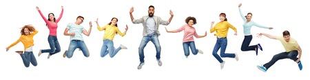 Photo pour international group of happy people jumping - image libre de droit