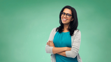 Photo for happy smiling young indian woman in glasses - Royalty Free Image