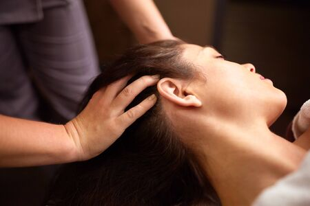 Photo for woman having head massage at spa - Royalty Free Image
