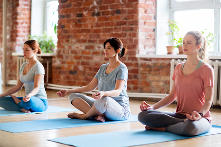 Foto de fitness, people and healthy lifestyle concept - group of women meditating in lotus pose at yoga studio - Imagen libre de derechos