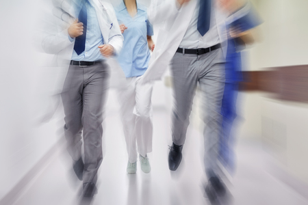 Photo for close up of medics or doctors running at hospital - Royalty Free Image