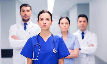 Foto de group of medics or doctors at hospital - Imagen libre de derechos