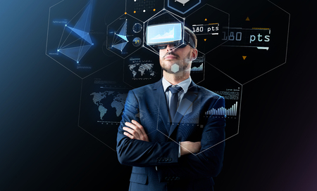 Photo for businessman in virtual reality headset over black - Royalty Free Image