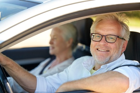 Photo for happy senior couple driving in car - Royalty Free Image