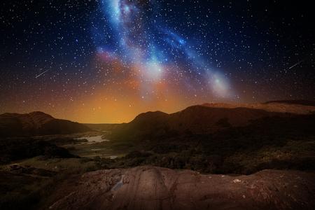 Photo pour mountain landscape over night sky or space - image libre de droit