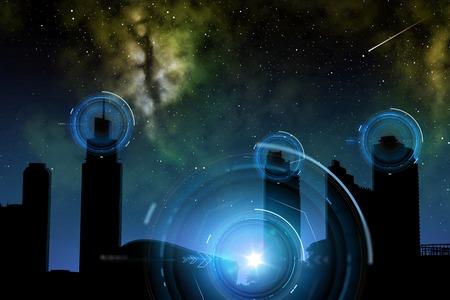 Photo pour city of future over space and holograms - image libre de droit