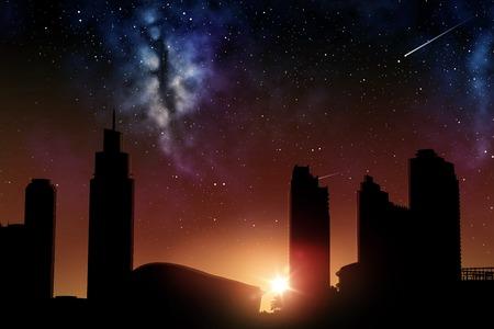 Photo pour space and future concept - futuristic city skyscrapers over sunrise in night sky background - image libre de droit