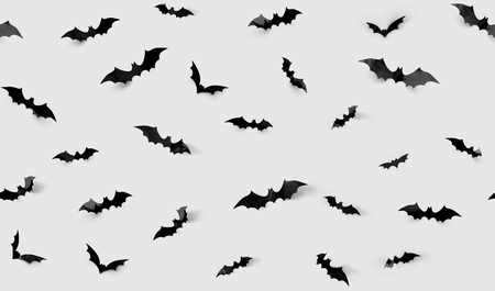 Photo for halloween decorations concept - seamless pattern with black paper bats on grey background - Royalty Free Image