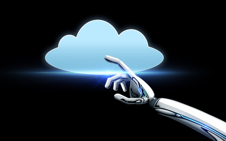 Photo pour robot hand with cloud computing icon over black - image libre de droit