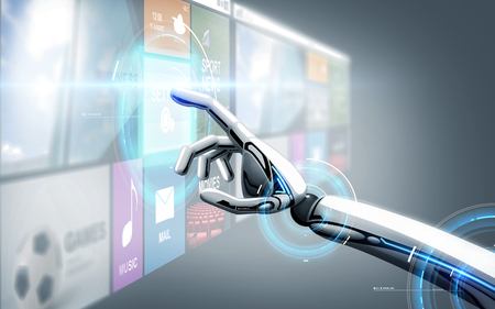 Foto de robot hand touching virtual screen with apps - Imagen libre de derechos