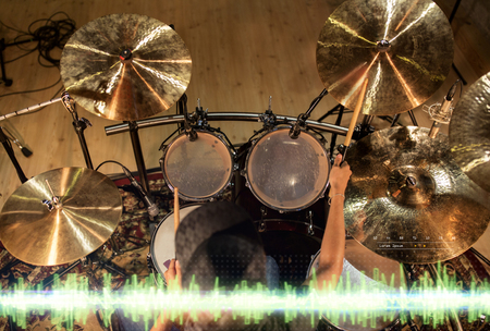 Photo for male musician playing drum kit at studio - Royalty Free Image