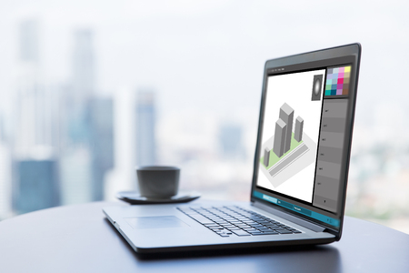 Foto de 3d model in graphics editor on laptop screen - Imagen libre de derechos