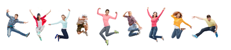 Foto de sport, dancing and people concept - group of people or teenagers jumping - Imagen libre de derechos