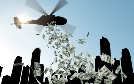 Photo pour finance, economy and monetary policy concept - helicopter in sky dropping money over city - image libre de droit