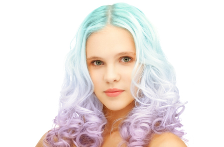 Foto de beauty and hairstyle concept - teen girl with trendy blue and lilac gradient dyed hair - Imagen libre de derechos