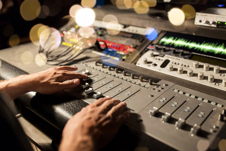 Photo for man using mixing console in music recording studio - Royalty Free Image