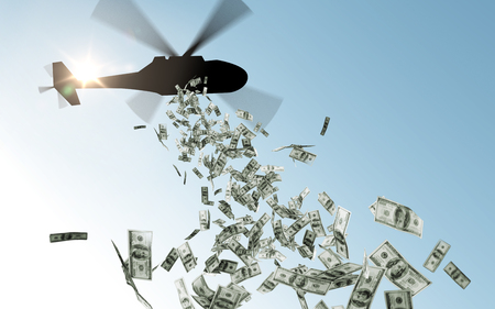 Photo pour helicopter dropping money in sky - image libre de droit