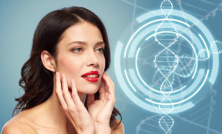 Photo pour woman with red lipstick over dna molecule - image libre de droit