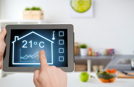 Foto de tablet pc with smart home settings on screen - Imagen libre de derechos