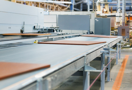 Photo for chipboards on conveyer at furniture factory - Royalty Free Image