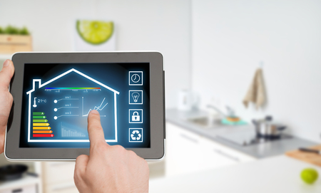 Foto de tablet pc with smart home settings on screen - Imagen libre de derechos