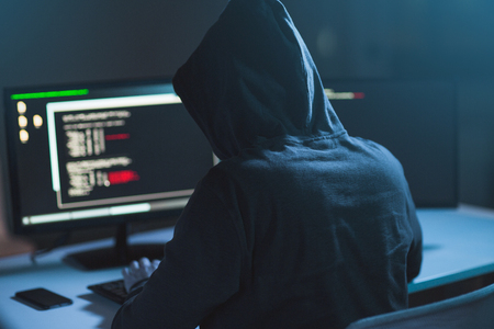 Photo pour hacker using computer virus for cyber attack - image libre de droit