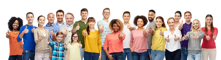 Photo for group of smiling people showing thumbs up - Royalty Free Image