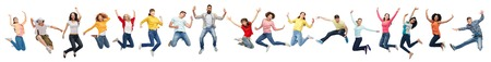 Foto de happy people jumping in air over white background - Imagen libre de derechos