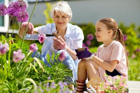 Foto de grandmother and girl planting flowers at garden - Imagen libre de derechos