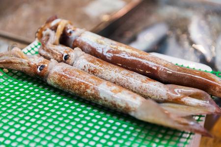 Foto de close up of fresh squids at japanese street market - Imagen libre de derechos