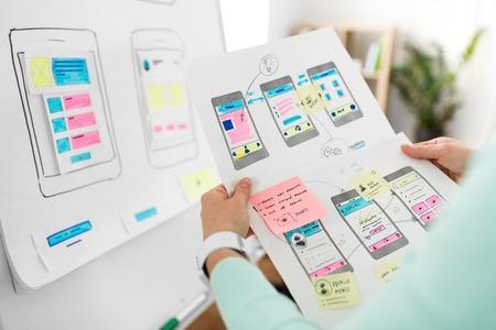 Foto de close up of ui designer with templates at office - Imagen libre de derechos