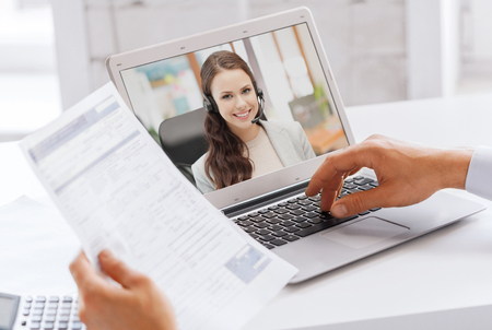 Photo for businessman having video call on laptop at office - Royalty Free Image